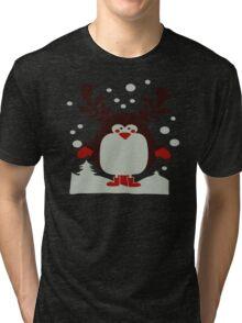 Christmas T Shirt Santa Reindeer Penguin Novelty Xmas Tri-blend T-Shirt