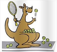 Cartoon of happy kangaroo serving tennis balls Poster