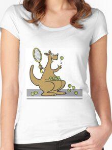 Cartoon of happy kangaroo serving tennis balls Women's Fitted Scoop T-Shirt
