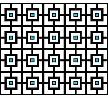 Black White and Blue Square Tiles Photographic Print