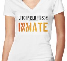 Litchfield Prison- INMATE- Orange is the new Black. Women's Fitted V-Neck T-Shirt