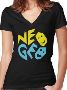 Neo Geo Tribute Yellow & Blue Logo Women's Fitted V-Neck T-Shirt