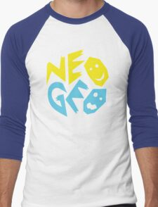 Neo Geo Tribute Yellow & Blue Logo Men's Baseball ¾ T-Shirt