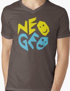 Neo Geo Tribute Yellow & Blue Logo Mens V-Neck T-Shirt