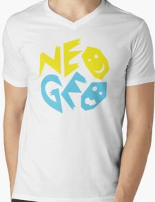 Neo Geo Tribute Yellow & Blue Logo Mens V-Neck T-Shirt