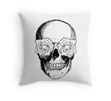 Skull & Roses | Black & White Throw Pillow