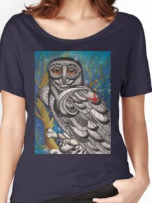 snowy owl with red star Women's Relaxed Fit T-Shirt
