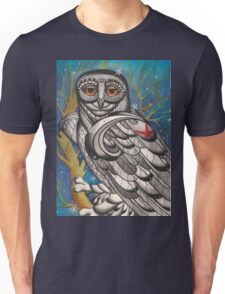snowy owl with red star Unisex T-Shirt