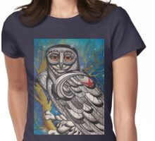 snowy owl with red star Womens Fitted T-Shirt