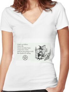 Witches don't... Women's Fitted V-Neck T-Shirt