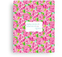 Lilly Pulitzer Pink Sunshine Quote First Impression Canvas Print
