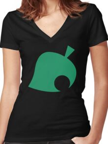 Animal Crossing Tribute Ladies Women's Fitted V-Neck T-Shirt