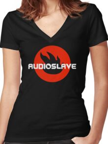 AUDIOSLAVE Rock Band Logo Women's Fitted V-Neck T-Shirt