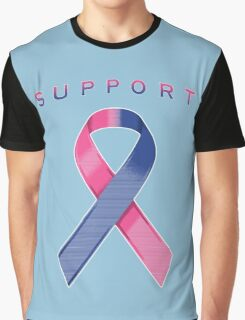 Pink & Blue Awareness Ribbon of Support Graphic T-Shirt