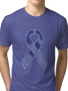 Blue Awareness Ribbon of Support Tri-blend T-Shirt