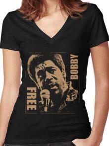FREE BOBBY Women's Fitted V-Neck T-Shirt