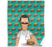 Bob Belcher Burger Pattern Blue Poster
