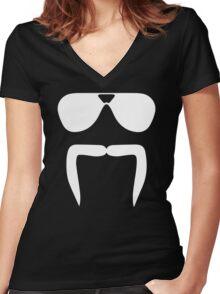 Aviator Sunglasses Horseshoe Fu Manchu Biker Mustache Women's Fitted V-Neck T-Shirt