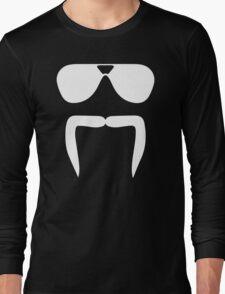 Aviator Sunglasses Horseshoe Fu Manchu Biker Mustache Long Sleeve T-Shirt
