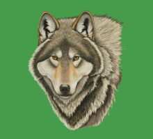 Grey Wolf Portrait Kids Tee