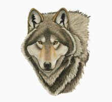 Grey Wolf Portrait One Piece - Long Sleeve