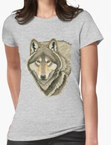 Grey Wolf Portrait Womens Fitted T-Shirt