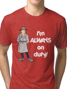 Inspector Gadget - I'm Always On Duty - White Font Tri-blend T-Shirt