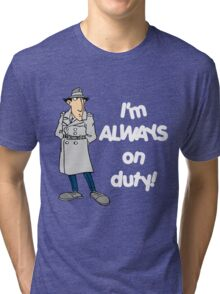 Inspector Gadget - I'm Always On Duty - White Font Tri-blend T-Shirt