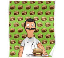Bob Belcher Burger Pattern Green Poster