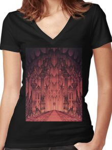 The Gates of Barad Dûr Women's Fitted V-Neck T-Shirt