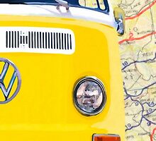 Sunny Yellow Classic VW Bus - Right Half Of Diptych by Mark Tisdale