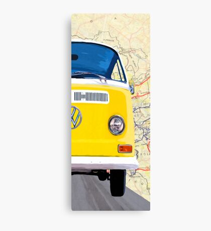 Sunny Yellow Classic VW Bus - Right Half Of Diptych Canvas Print