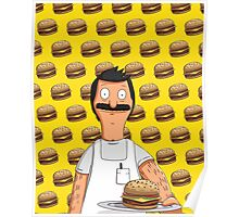 Bob Belcher Burger Pattern Yellow Poster