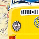 Sunny Yellow Classic VW Bus - Left Half Of Diptych by Mark Tisdale