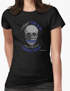 BLUE Line Skull Womens Fitted T-Shirt