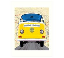 Golden Yellow VW Campervan Map Collage Art Print