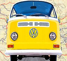 Golden Yellow VW Campervan Map Collage by Mark Tisdale