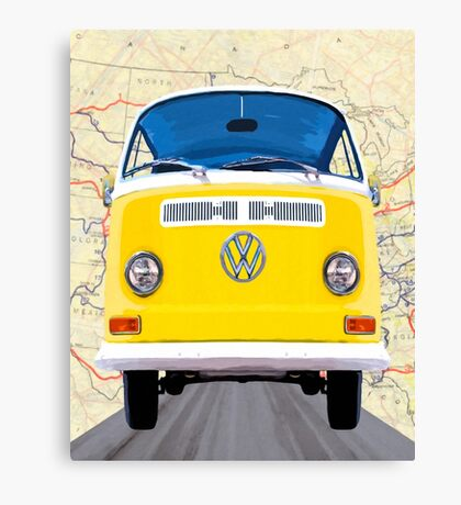 Golden Yellow VW Campervan Map Collage Canvas Print