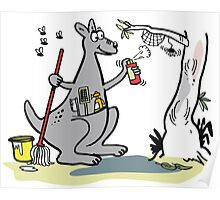 Cartoon kangaroo spring cleaning with mop and bucket Poster