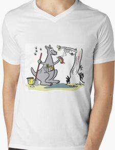 Cartoon kangaroo spring cleaning with mop and bucket Mens V-Neck T-Shirt