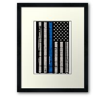 Police blue line Flag Framed Print