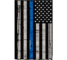Police blue line Flag Photographic Print
