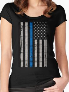 Police blue line Flag Women's Fitted Scoop T-Shirt