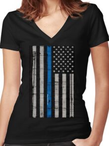 Police blue line Flag Women's Fitted V-Neck T-Shirt