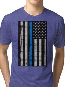 Police blue line Flag Tri-blend T-Shirt