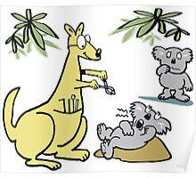 Cartoon of kangaroo dentist taking koala bear tooth out. Poster