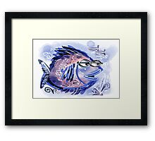 Abstract blue fish design Framed Print