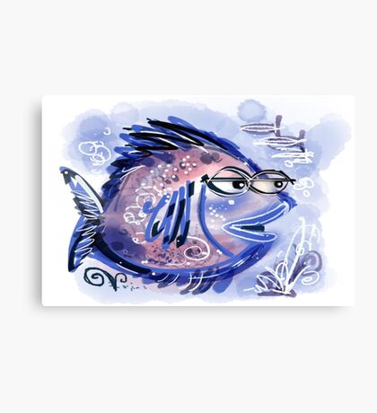 Abstract blue fish design Canvas Print