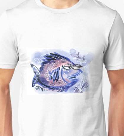 Abstract blue fish design Unisex T-Shirt
