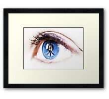 Peace sign on retina of woman  Framed Print
